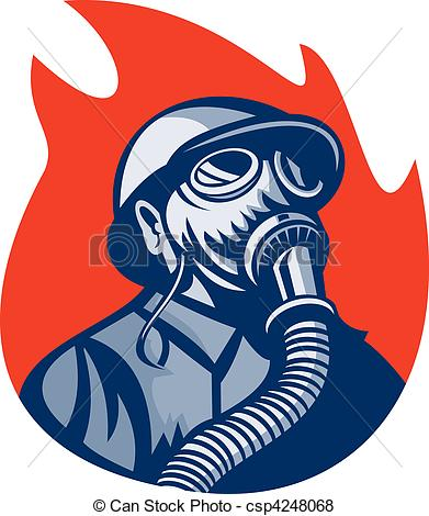 Gas Mask clipart logo Gas Fireman  or of