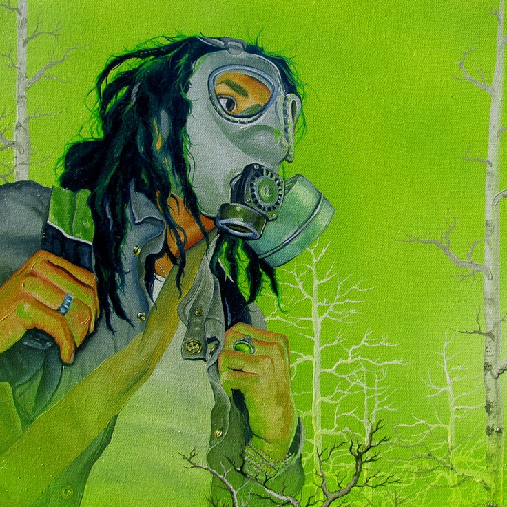 Gas Mask clipart neon gas On green mask CURTAIN images