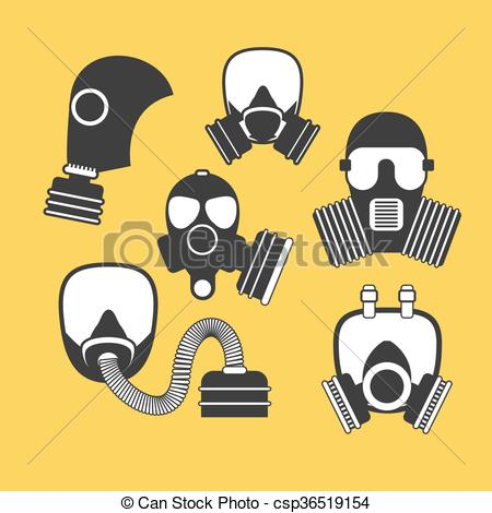 Gas Mask clipart respirator Vector vector firefighters set Gas