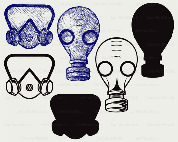 Gas Mask clipart silhouette Mask silhouette gas svg mask