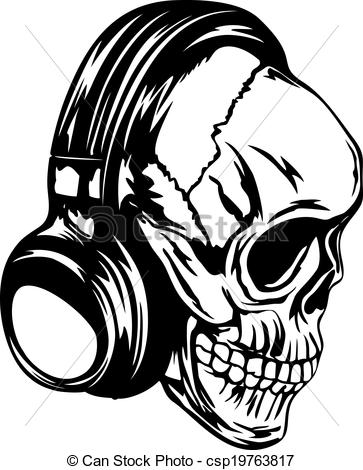Drawn headphones line art With skull Skull headphones with