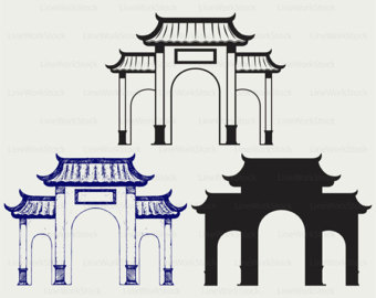 Chinese clipart arch Chinese gate clipart Etsy chinese