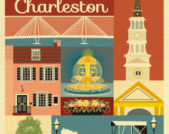 Gate clipart charleston sc Charleston Row print Etsy Charleston
