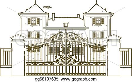 Mansion clipart castle gate Drawing castle Vector Drawing Clipart