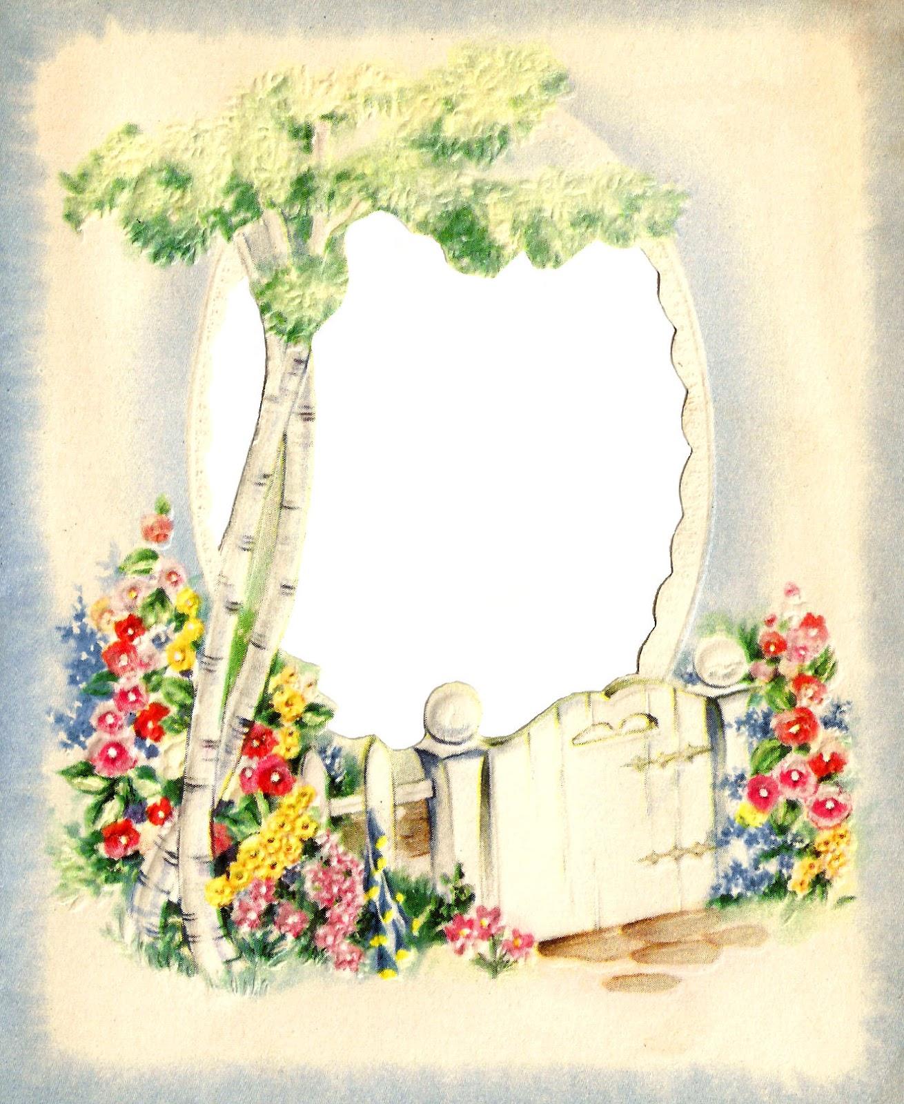 Gate clipart garden frame Digital Images: Garden flowers Flower