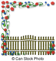Gate clipart garden frame Colorful Garden and flowers gate