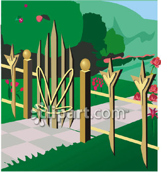 Gate clipart garden frame + garden Fancy open Wrought