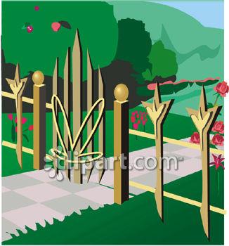 Gate clipart garden frame Clipart + garden With open