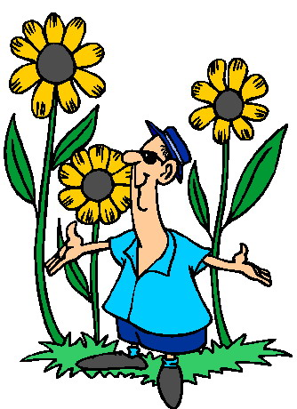 Cartoon clipart gardener Flowers art spring illustration of