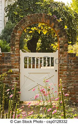 Gate clipart gardener White Stock with of archway