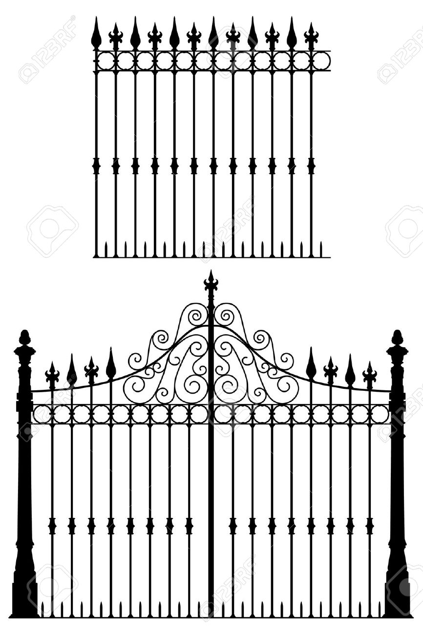 Gate clipart gothic Modular Wrought Royalty Fences Cliparts