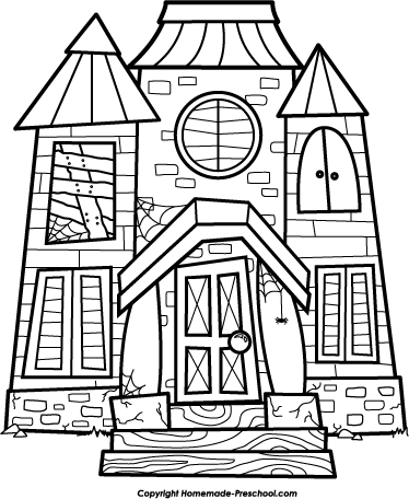 Mansion clipart building outline Clip House House Art Fall/Halloween