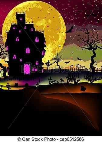 Haunted clipart background Halloween Art EPS 8 background