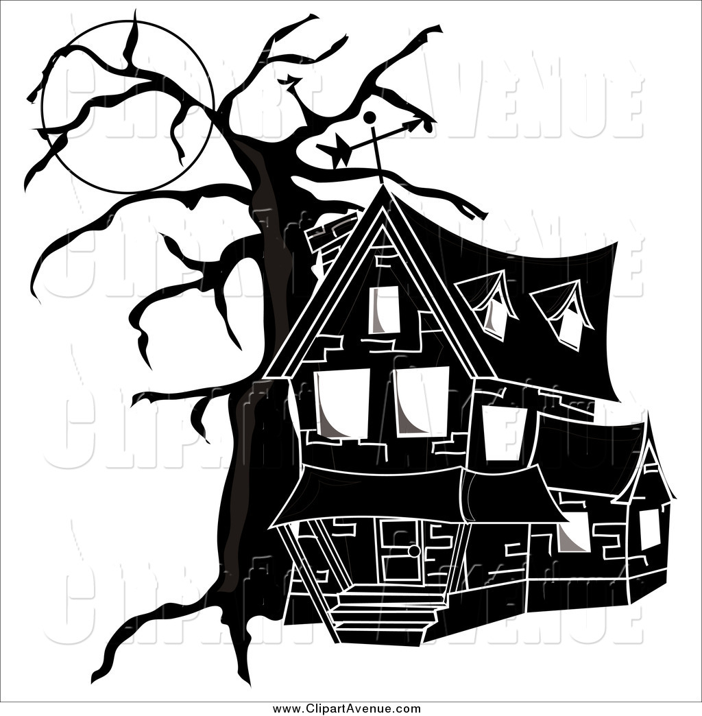 Spooky clipart haunted mansion Black White Stock and and