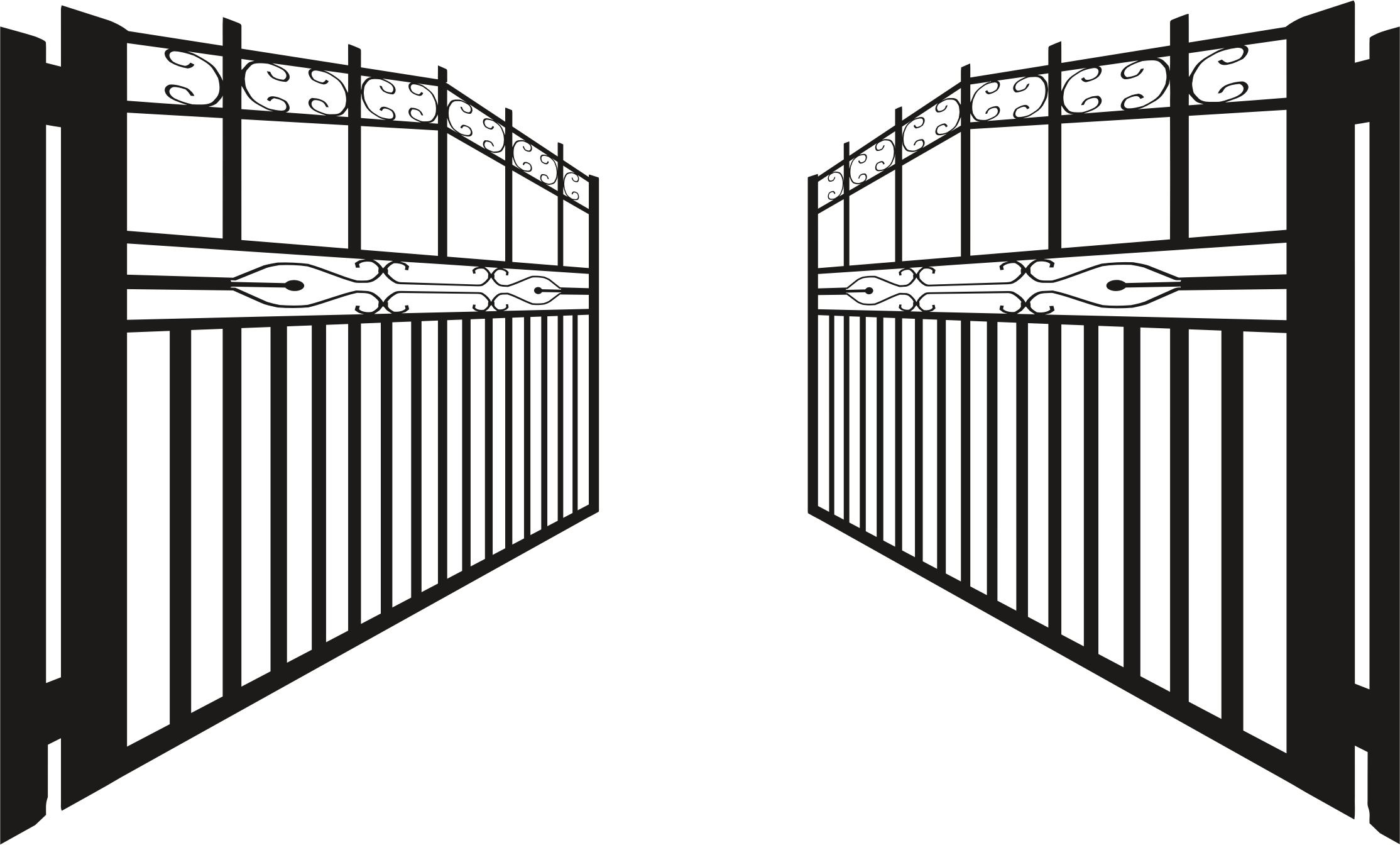 Gate clipart iron gate Opened Silhouette Clipart Iron Silhouette