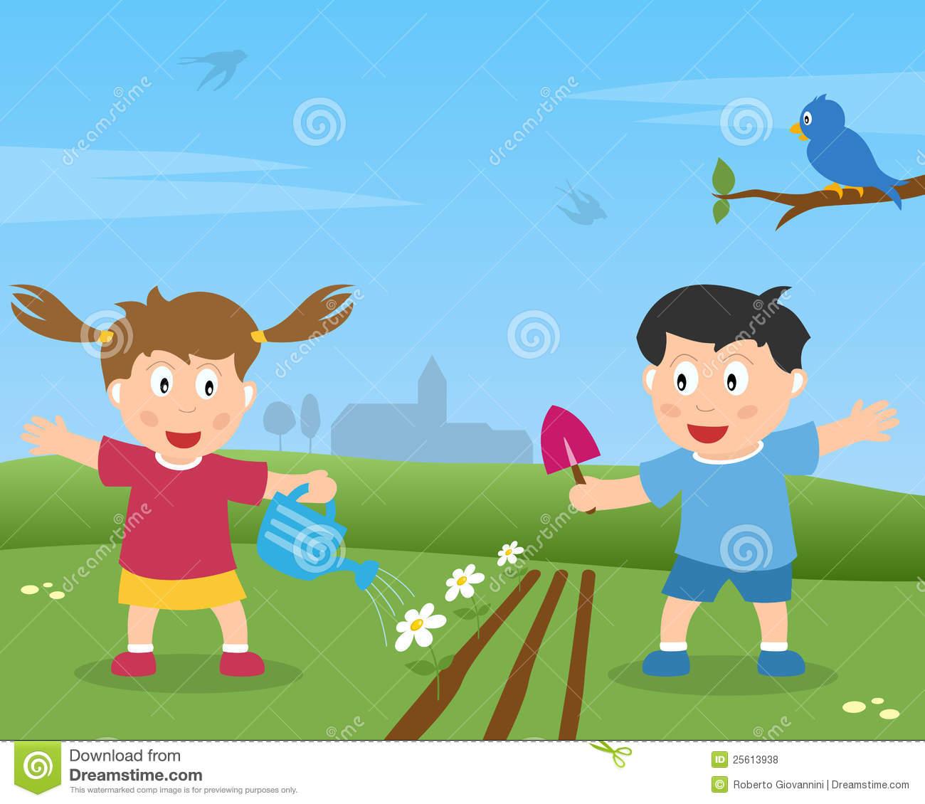 Country clipart child garden Clipart garden Free Kids Gardening