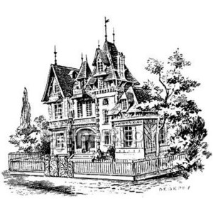 Gate clipart mansion Drawing Royalty Clipart Free Victorian