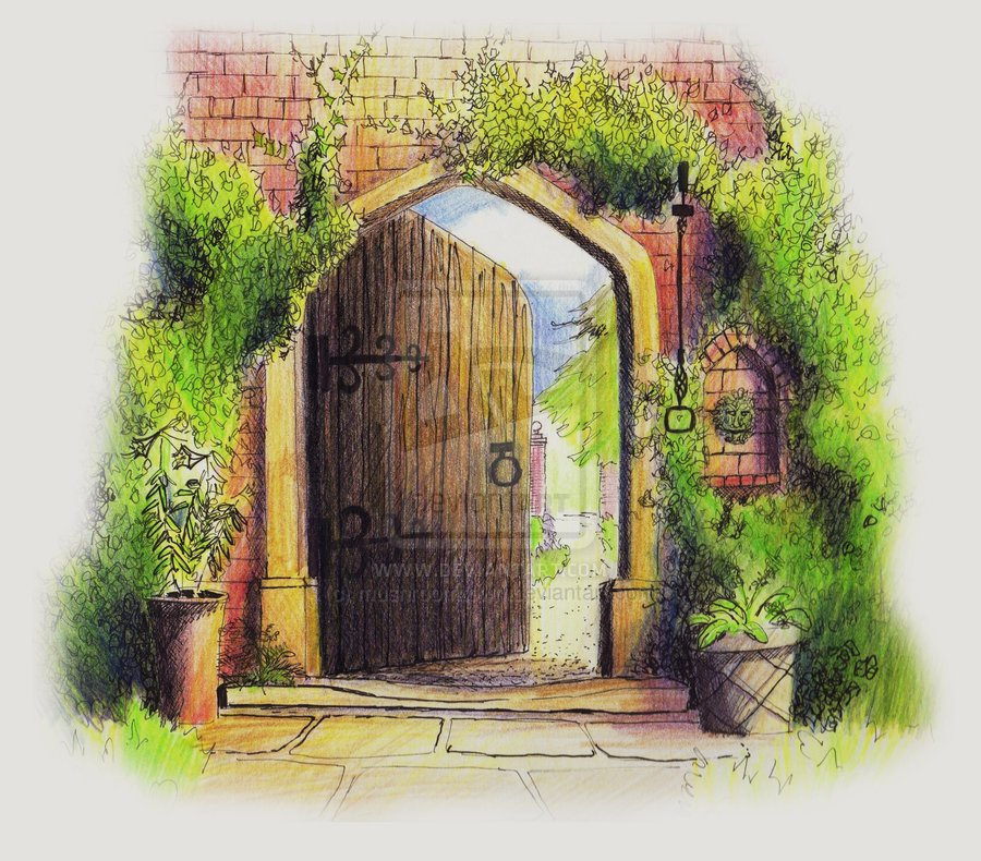 Gate clipart secret garden Garden clipart Enchanted mushroomtown by