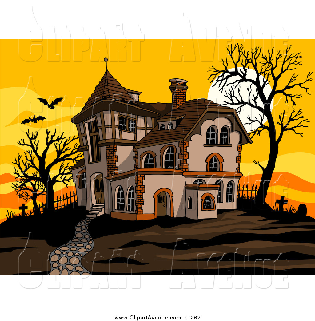 Mansion clipart creepy house Haunted with Silhouetted Scary Bats