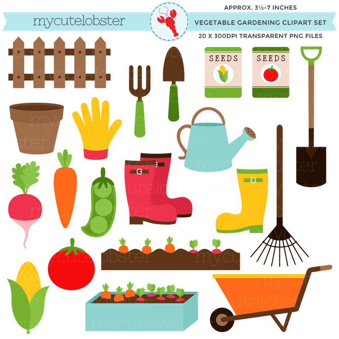 Gate clipart vegetable patch Clipart Gardening Vegetable carrots Etsy