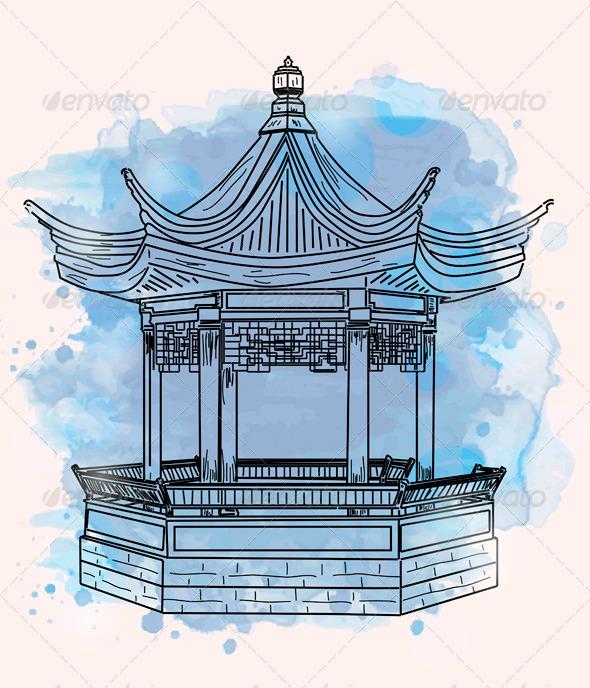 Gazebo clipart chinese Temple stock chinese free illustration