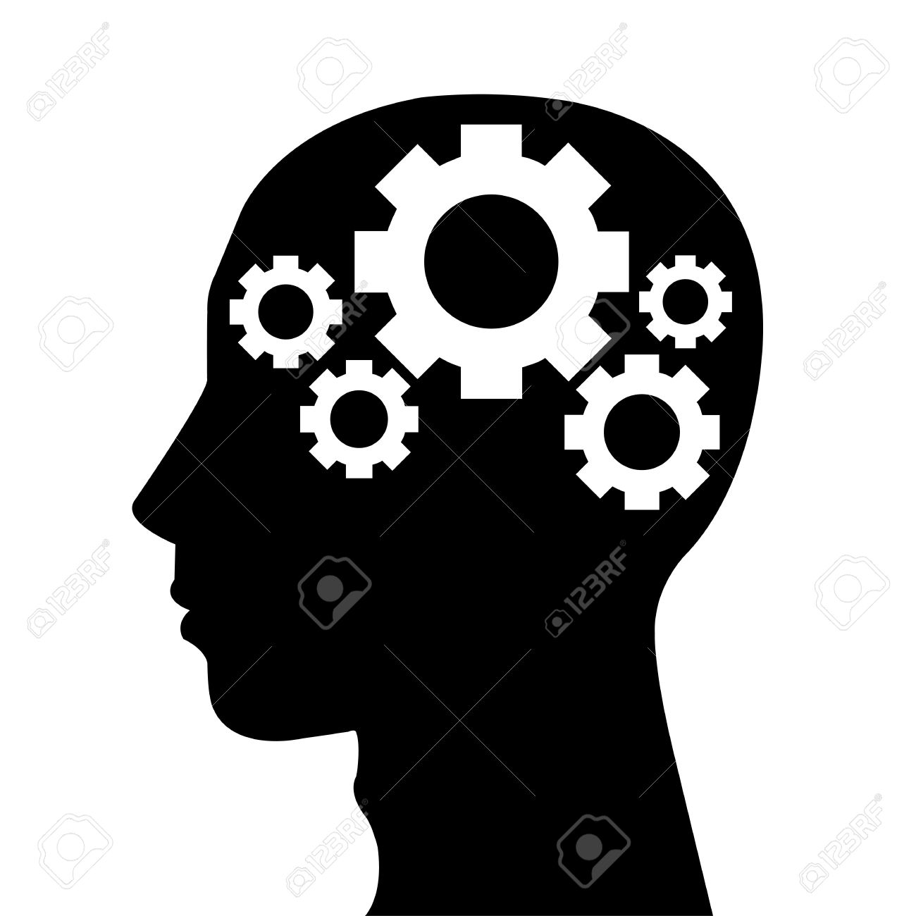 Gears clipart brain idea Clipart Human Silhouette Set in