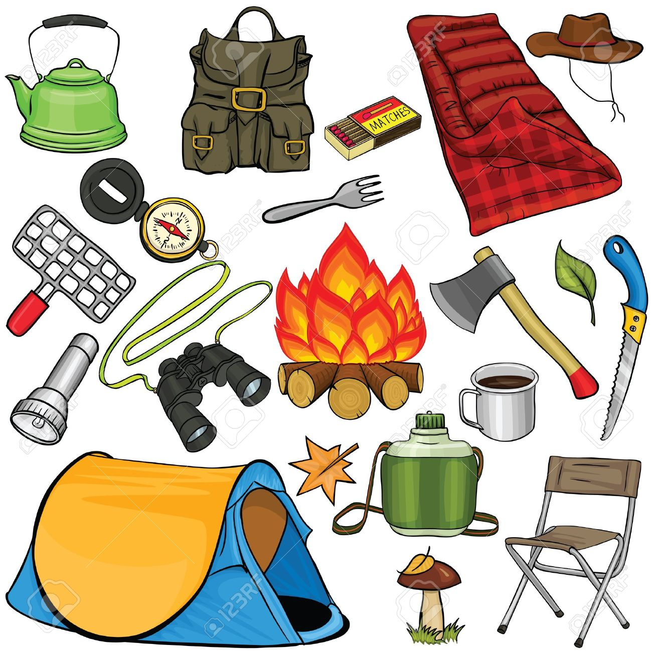Hiking clipart camping gear Gear jpg camping style cartoon