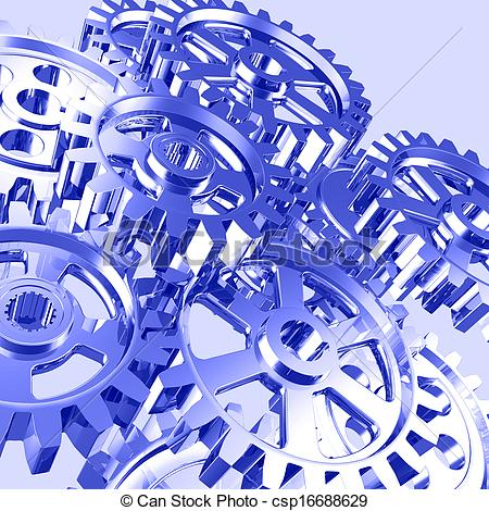 Gears clipart machinery Artistic machine of gears csp16688629