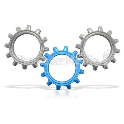Gears clipart three Three Turning Gears Clipart Connected