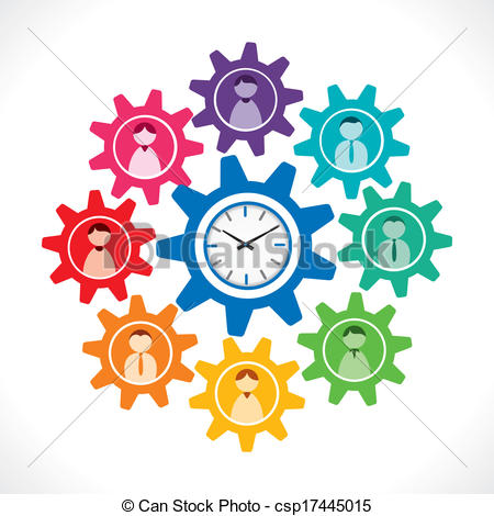 Gears clipart time clock People icon in of clock