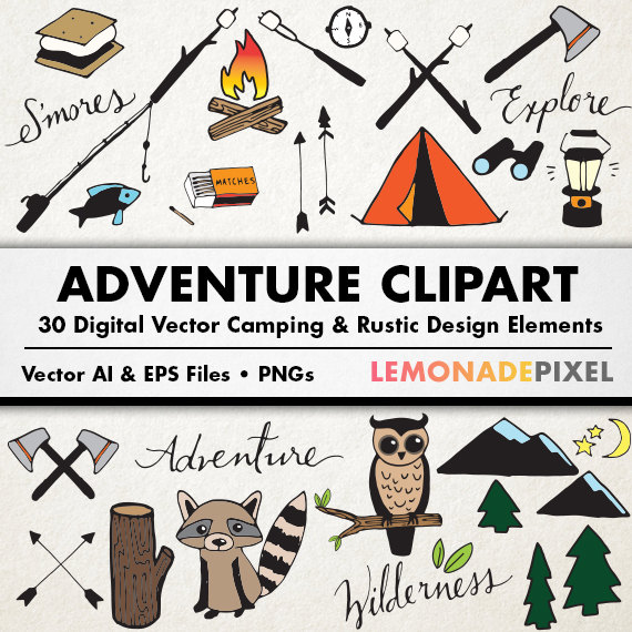 Camper clipart weekend activity Drawings Woodland Hand Rustic tent
