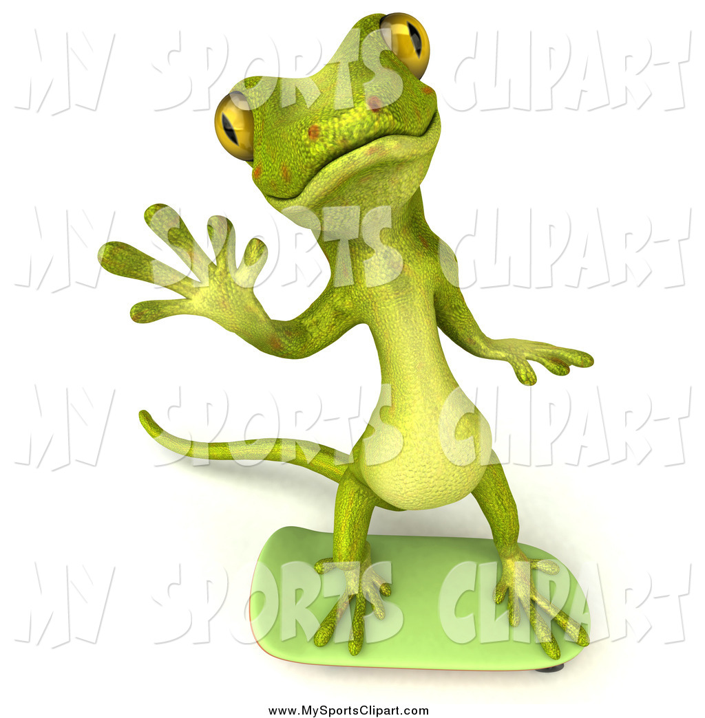 Gecko clipart yellow By Waving gecko 3d and