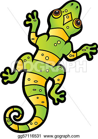 Gecko clipart yellow Clip striped Vector and lizard