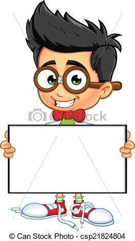 Geek clipart cartoon Cartoon Holding Clipart Board A