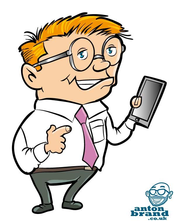 Geek clipart cartoon person With PC images Nerds tablet
