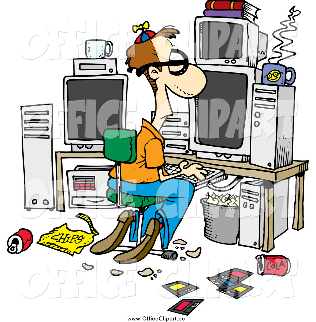 Office clipart cartoon In of clipart Vector Computer