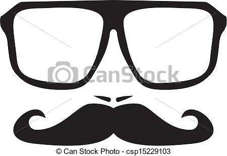 Geek clipart mustache glass And with Vector face of