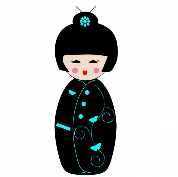 Geisha clipart black and white Free Domain Girl Clipart Public
