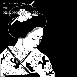 Geisha clipart black and white Demure a Geisha Black Illustration