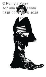 Geisha clipart black and white A Art Japanese Illustration of