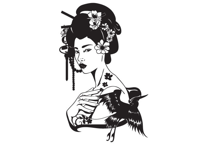 Geisha clipart black and white A Wall Asian portrait Stunningly