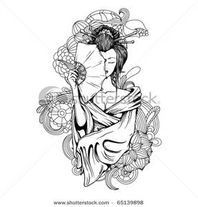 Geisha clipart black and white White Black Geisha with Image: