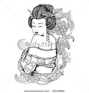 Geisha clipart black and white Image: Black Black Woman Shoulder