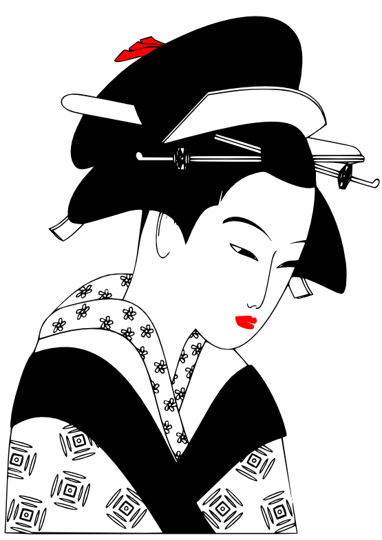 Geisha clipart black and white Tattoo white  coloring Bing