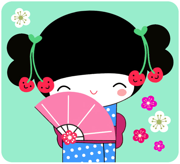 Geisha clipart china doll On Pin  / Kokeshi