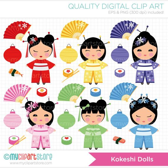 Geisha clipart china doll Japanese images Kokeshi about art