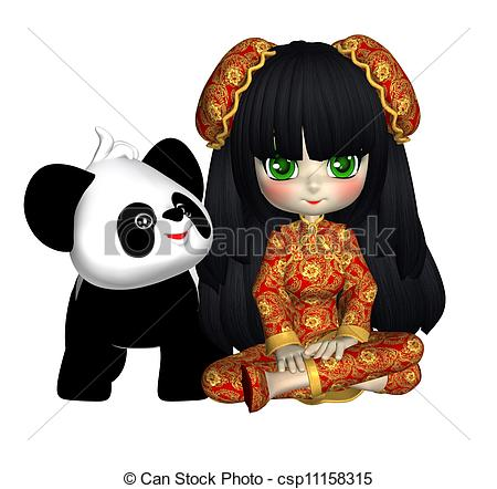 Geisha clipart china doll Panda China royalty 628 With