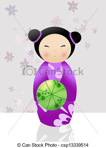 Geisha clipart china doll Kokeshi girl royalty 628 kokeshi