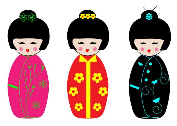 Kimono clipart kokeshi Public Stock Pictures Dolls Kokeshi