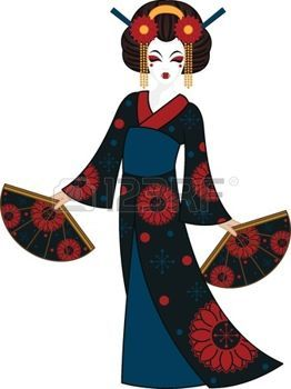 Geisha clipart japanese traditional art Image vectors coloriage Indian Pin